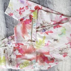 DL1961 Floral Zipper Ankle Skinny Jeans 26
